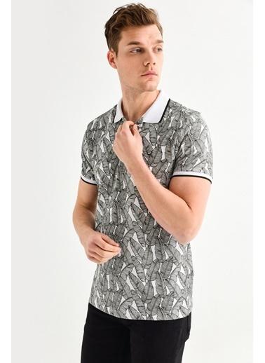 Avva Erkek  Polo Yakalı Baskılı Tişört A01Y1053 Beyaz